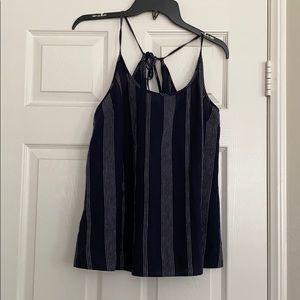 Navy blue linen halter top